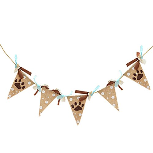 TINKSKY Linen Vintage Bunting Banner Animal Footprint Hanging Garland Pet Birthday (Dog Birthday Decorations)