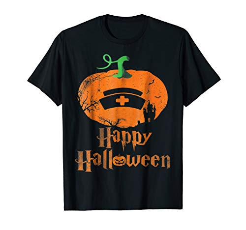 Hapy Halloween Scary Pumpkin With Nurse Hat Shirt For -