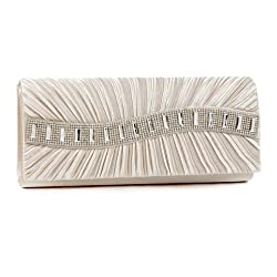 Damara Womens Elegant Front Pleated Stone Clutch Evening bags,champagne