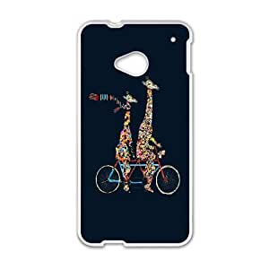 HTC One M7 Cell Phone Case White giraffes days lets tandem ZUY Custom Phone Case For Men