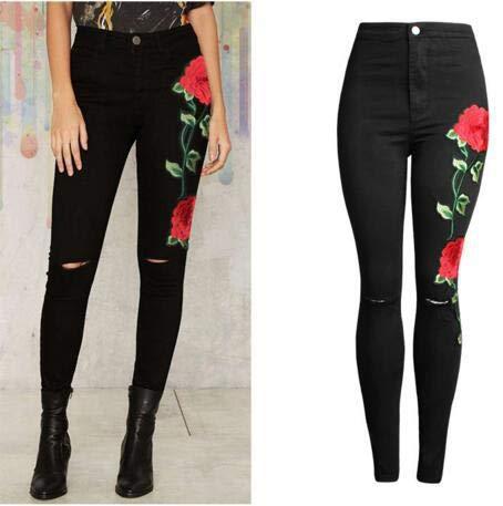 Pantalones De Negro Jeans Bordados Versátiles Negros DAMENGXIANG Pitillo Elásticos Mujer qU7xfA