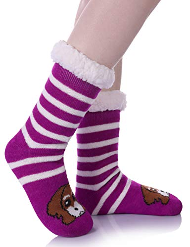 Womens Sherpa Winter Fleece Lining Knit Animal Socks Non Slip Warm Fuzzy Cozy Slipper Socks Stripe Dog