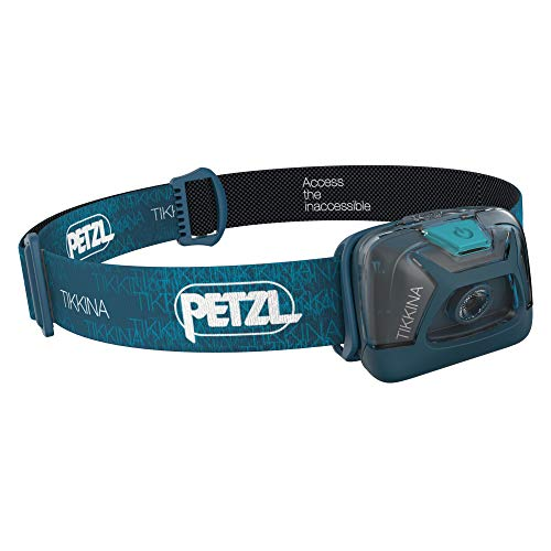 (PETZL - TIKKINA Headlamp, 150 Lumens, Standard Lighting, Blue)