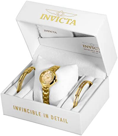 Invicta Women's Angel Quartz Watch with Stainless Steel Strap, Gold, 12 (Model: 29322)