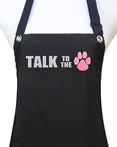 Trendy Salon Aprons Waterproof Dog Groomers Grooming Pet Salon Apron, Talk to the Paw (Pink, Talk to the (paw print)) Review