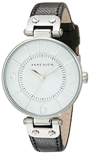 Anne Klein Women's 109169WTBK Silver-Tone and Black Leather Strap ()