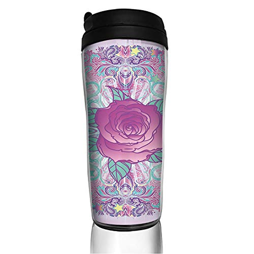 Stainless Steel Insulated Coffee Travel Mug,Inspired Round Rose Figure 80s 90s Retro Vintage,Spill Proof Flip Lid Insulated Coffee cup Keeps Hot or Cold 11.8oz(350 ml) Customizable ()