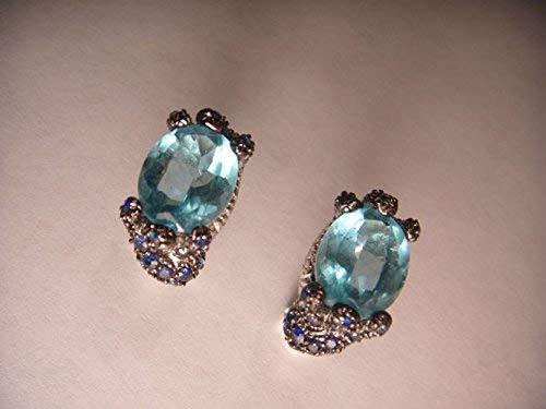- Gorgeous Estate 14K White Gold Sapphire Diamond Blue Topaz French Clip Earrings