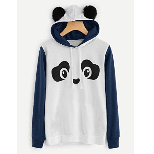 Casual Tunique Chandail Chic Sweat Manche Reaso Hoodie Sweat Pull Impression Mode Femmes Blouse Pullover Hiver Elegant Tops Manteau Capuche Doux Jumper Shirt Longue Bleu Panda Sweater pOwUHtqw