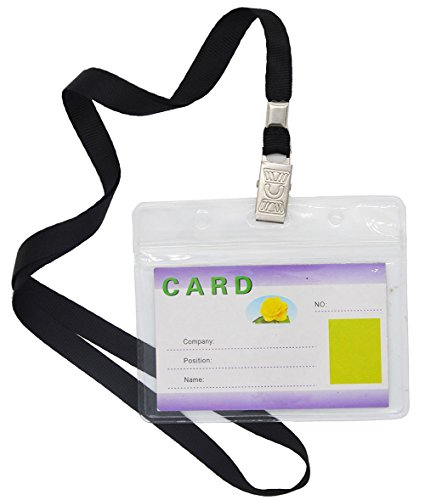 rproof Type Clear Plastic Horizontal Name Tag Badge Id Card and 50 Pcs Black Nylon Lanyard ()