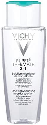 Vichy Pureté Thermale 3-in-1 One Step Cleansing Micellar Water Facial Cleanser and Eye Makeup Remover, 6.76 Fl. Oz.