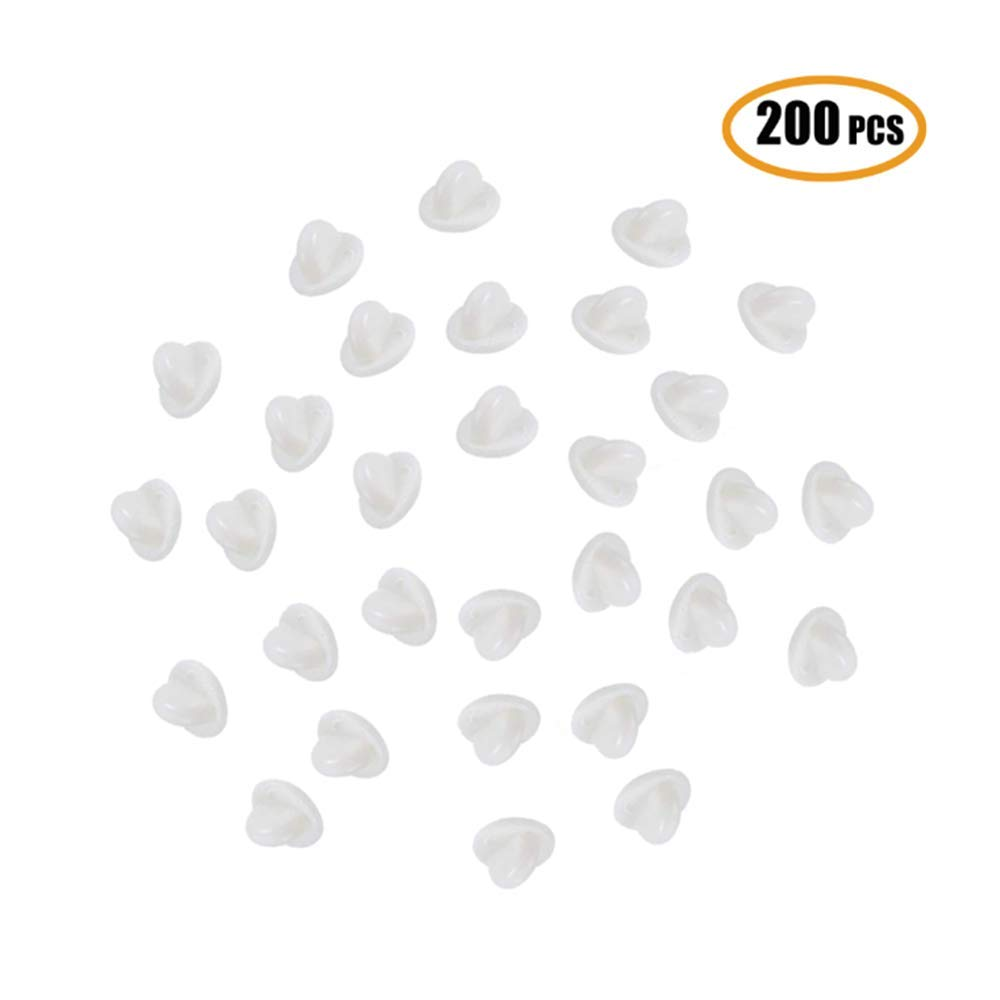 200 Pack Butterfly Clutch PVC Rubber Pin Backs Keepers, Replacement Uniform Badge Comfort Fit Tie Tack Lapel Pin Backing Holder Clasp,White Getlife