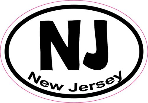 - 3X2 Oval NJ New Jersey Sticker Vinyl State Vehicle Window Stickers Bumper Decal
