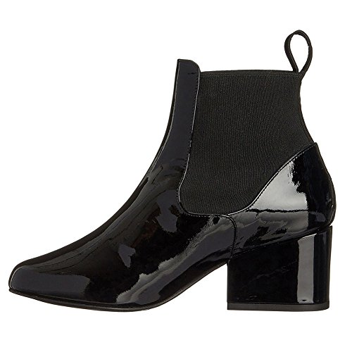 Pumps KJJDE Blockabsatz High Party Damen Black 071704 39 TLJ Stiefel Stiefel Heels Lackleder Runde Zehe PRP7vrqw
