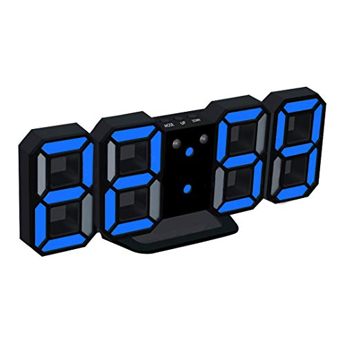 Price comparison product image HOMECLVS LED Rectangular 3D Digital Clock Table Alarm Watch 24 Or 12 Hour Display Home Wall Decoration Clock No.4