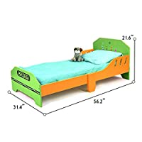 Bebe Style Toddler Size Kids Junior Wooden Bed for Children - Crayon Theme - Colorful, Stylish, and Easy to Assemble