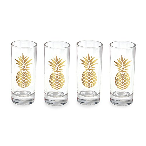 Wild Pineapple (Wild Eye Designs Shot Glass Set of 4, Gold Pineapple)