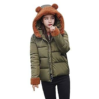 JESPER Women Winter Warm Down Coat Faux Fur Cute Bear