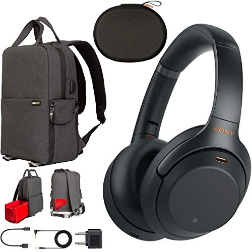 (Sony WH1000XM3 Premium Noise Cancelling Wireless Bluetooth Headphones with Built in Microphone WH-1000XM3/B Black Commuter's Bundle with Deco Gear Travel Backpack with Gadget Compartment & USB Port)