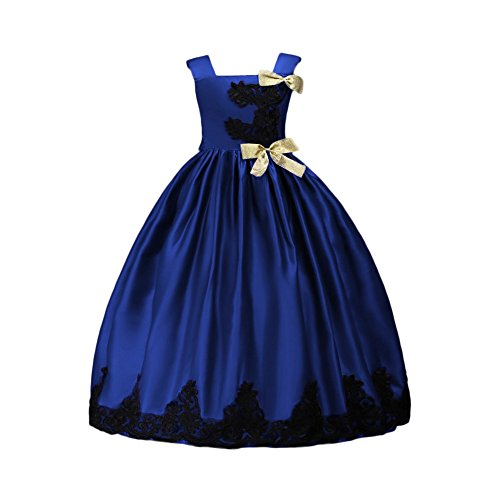 Glamulice Girl Party Dress Halloween Princess Costume Fancy Dress Up Flower Girls Dresses Ball Maxi Gown Blue (Fancy Dress Ball Halloween Costumes)