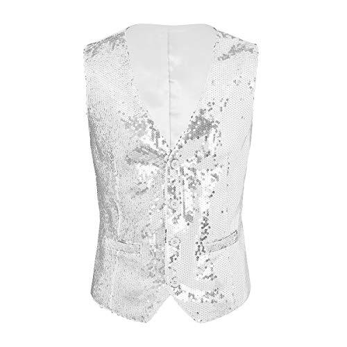 inlzdz Men's Shiny Sequins V-Neck Vest Paillette Waistcoat Slim Fit Business Party Dress Suit Silver XX-Large ()
