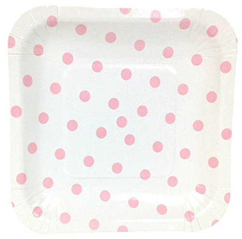Just Artifacts Square Paper Party Plates 7.25in (12pcs) - Baby Pink Polka Dot - Decorative Tableware for Birthday Parties, Baby Showers, Grad Parties, Weddings, and Life Celebrations! (Polka Dot Plates Pink)