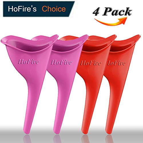 HoFire Female Urination Device-Lets You Pee Standing up-Lightweight Silicone Portable Travel Urinal Funnel Women-Perfect Camping, Traveling, Climbing, Festivals,Outdoor Activities-4 Pcs(Orange+Pink)