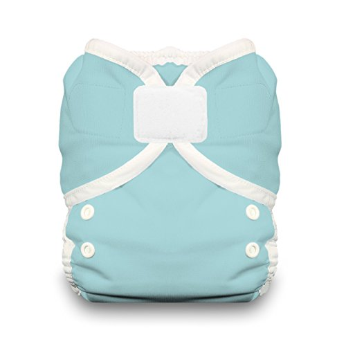 Thirsties Reusable Cloth Diaper Cover, Hook and Loop Closure, Aqua Size One (6-18 - Diapers Snappi Fitted