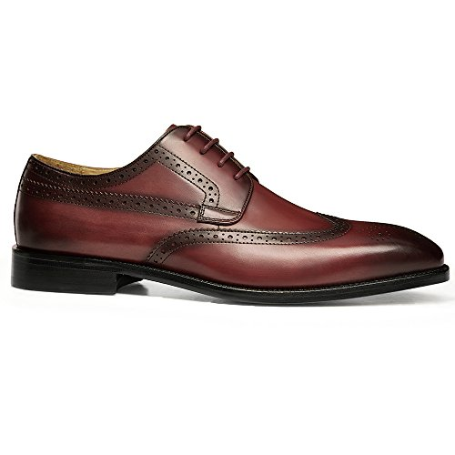 Perforated Classic GIFENNSE Oxfords Modern Leather Red Lined Up Leather Shoes Dress Lace Mens Handmade Sole vWf7XgvH