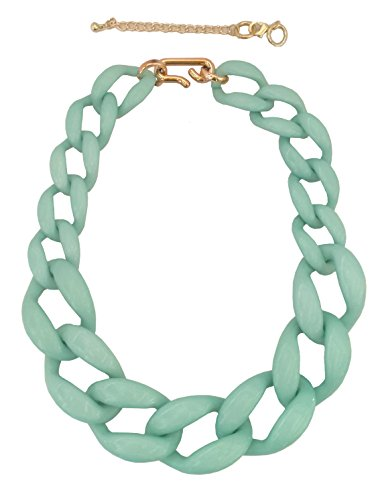 JJMG Women's 18' Chunky Choker Link Necklace with 2' Adjustable clasp (Tiffany Blue)