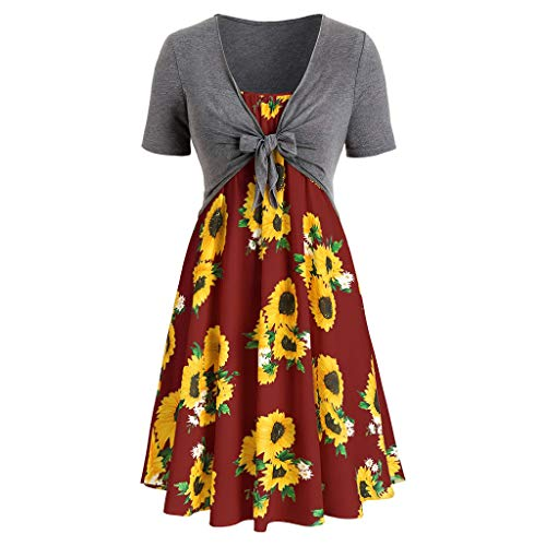 (Sttech1 Women Ladies Short Sleeve Bow Tie Blouse Sunflower Print Dress Set 1PC Top+1PC Dress Red)