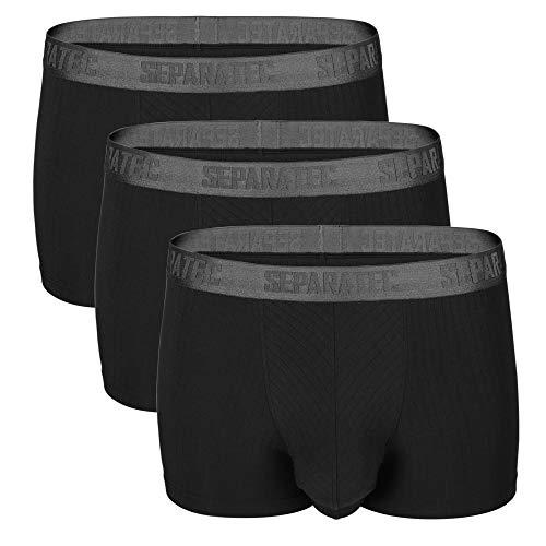 Separatec Men's 3 Pack Soft Modal Stylish Drop Needle Striped Trunks Underwear(S,Black) ()
