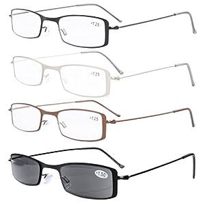Eyekepper 4-Pack Stainless Steel Frame Half-eye Style Reading Glasses Includes Sun Readers +2.75