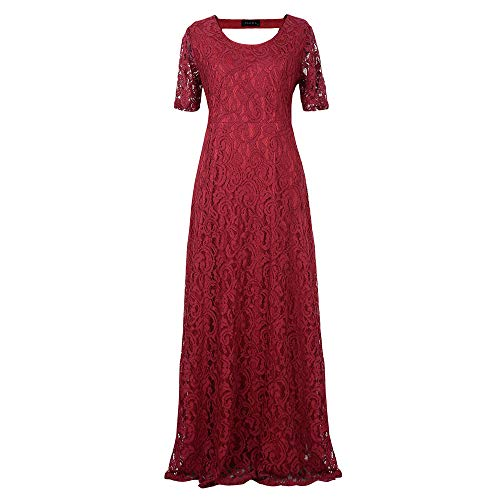 Size color Pizzo Auming Neck Wine D'onore Da Lungo Blue O Donna E In Vestito Maxi Maniche Lunghe Xxxxxxxxl Navy Damigella Red Con xxwqZ4Uf