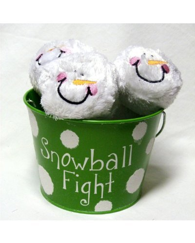 Youngs 6 Plush Snowmen Balls in a Green Tin Labeled Snowball Fight, Indoor Play
