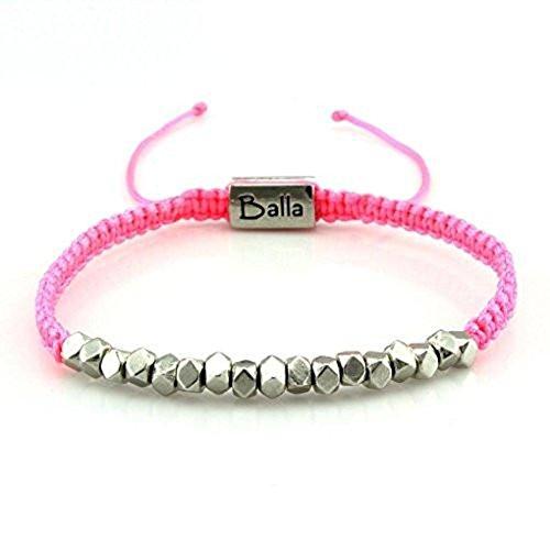 Balla Hope Karma Simple Silver Beaded Pink Nylon Adjustable Bracelet Gift for Mom Daughter ()