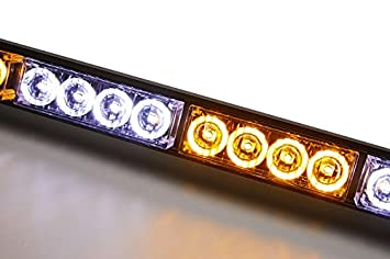 35.5, Blue V-SEK LED Hazard Emergency Warning Tow Traffic Advisor Flash Strobe Light Bar with Cigar Lighter and Suction Cups