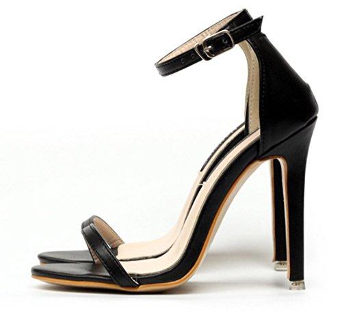 CSDM DONNA Sandali classici semplici Stiletto Heel Summer Open Toe Cavità Cavità scarpe da fibbia , black , 36