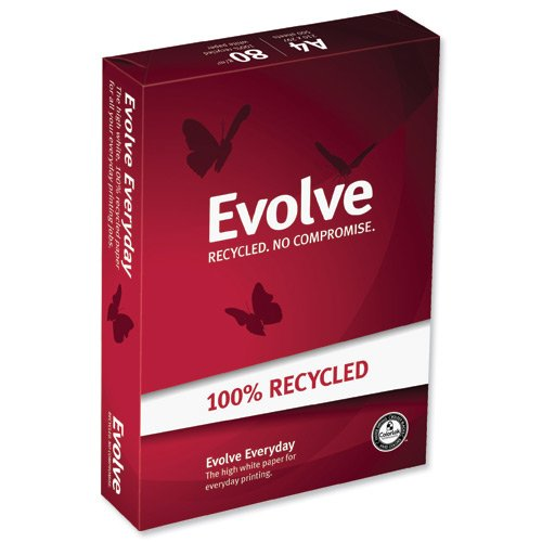Double A Evolve - Papel reciclado para impresora (formato A4, 500 hojas), color blanco