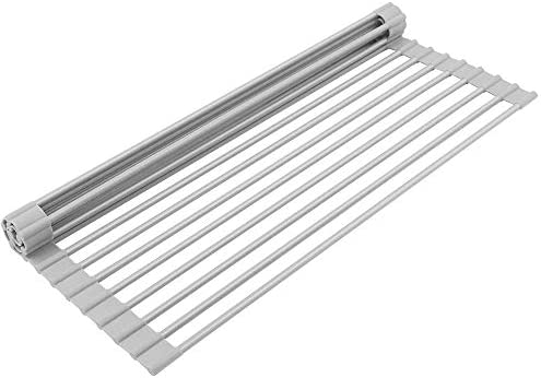 Dish Drying Rack,Multipurpose Roll-Up Drying Rack,Dish Racks Rolling Dish Drainer Over Sink Mat for Kitchen(17 inch)