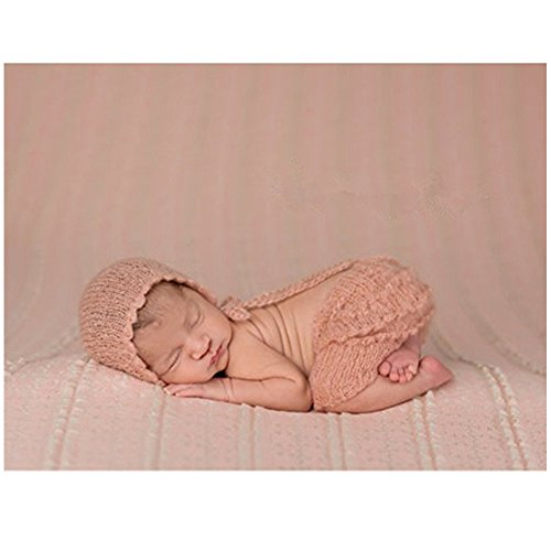Newborn Baby Infant Photography Photo Props Boy Girl Outfits Cute Hat Pant (Light Pink)