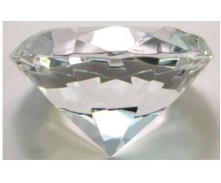 (SF Clear Crystal Glass Diamond Shaped Paperweight 3