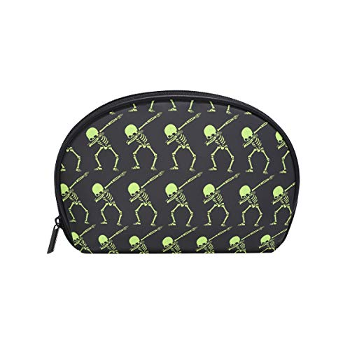 Kespeare Half Moon Cosmetic Beauty Bag Travel Handy Organizer Pouch Dabbing Skeleton Funny Cosmetic Bags