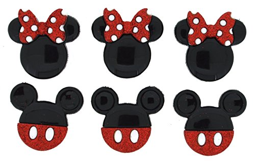 Disney Button Embellishments, Mickey and Minnie Glitter