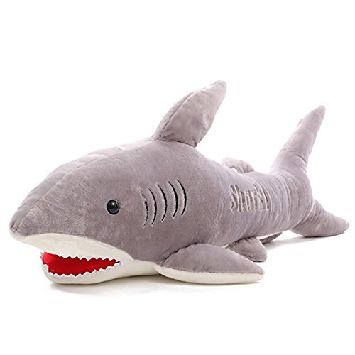 Missley Grey Plush Shark Toys Creative Sharks Doll Pillow Cute Jaws doll Shark stuffed toys pillow (L) by Missley