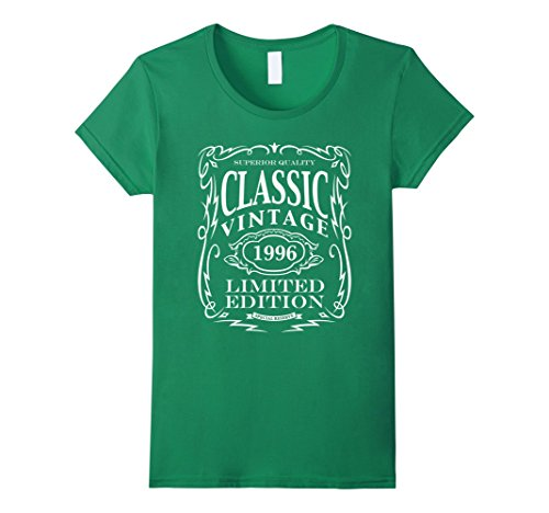 Womens Vintage 1996 T-Shirt - 22nd Birthday Gift Tee Shirt Medium Kelly Green
