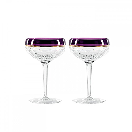 Waterford Elysian Amethyst Champagne Coupe, Pair