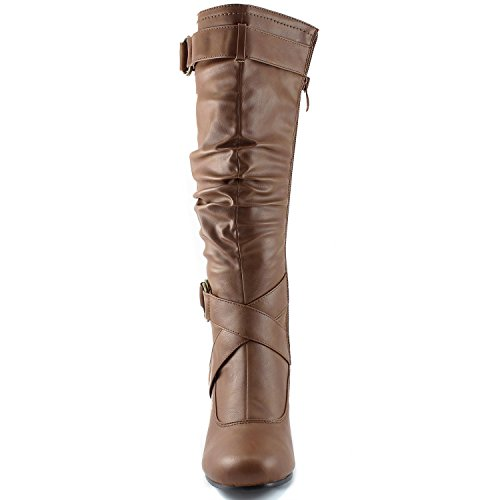 Dailyshoes Womens Slouchy Mid Kalf Strappy Boots Met Enkel En Top Bandjes - 2 Hak Mode Laarzen Taupe Pu