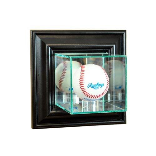 Mlb Wall - Perfect Cases MLB Wall Mounted Baseball Glass Display Case, Black