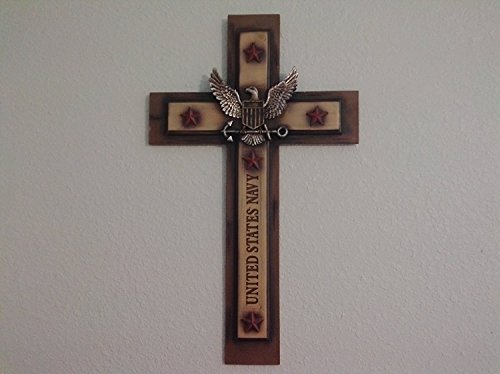 (Large Hand-Painted US Navy Wall Cross with Eagle and Anchor insignia and United States Navy Inscribed on shaft (20